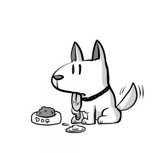 長い時間マテをさせられている犬